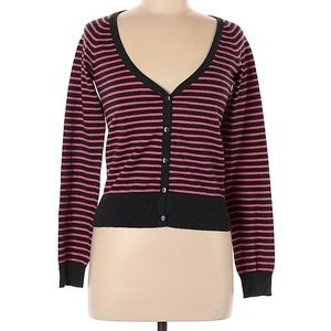 H&M Pink & Grey Striped V-neck Cardigan  S